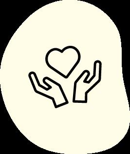 Ikon med händer och ett hjärta
